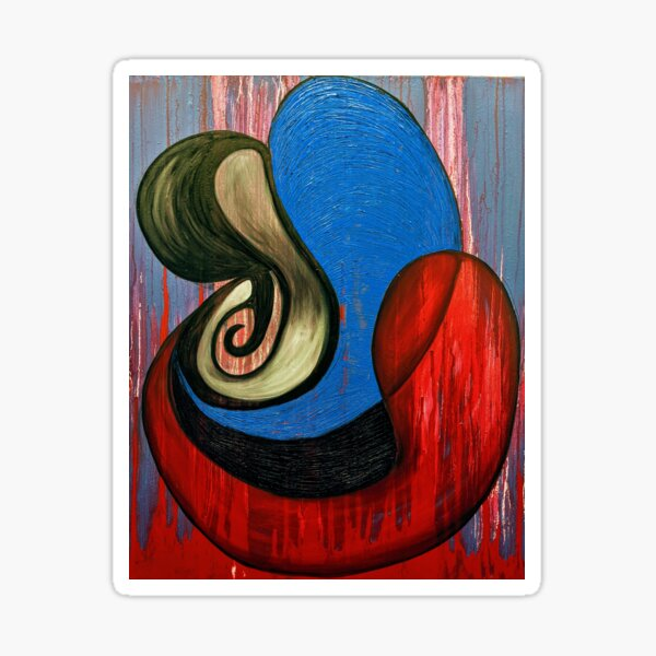 red, blue, and black abstract art painting Sticker