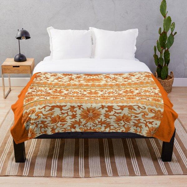 elegant Chinese floral pattern in oranges Throw Blanket