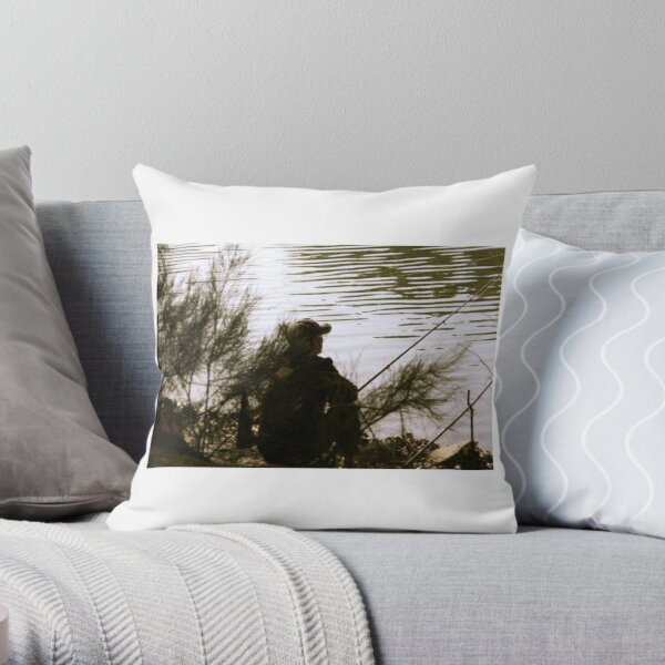 Old man and a river. Throw Pillow