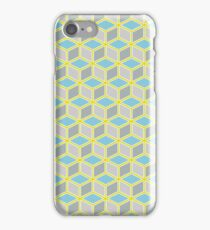 Tumbling Blocks, Yellow/Blue iPhone Case/Skin