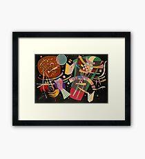 Abstract colour on black Kandinsky painting Framed Print
