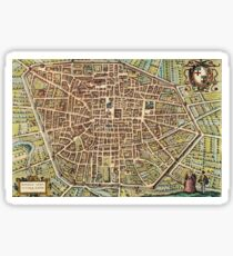 Bologna Vintage map.Geography Italy ,city view,building,political,Lithography,historical fashion,geo design,Cartography,Country,Science,history,urban Sticker