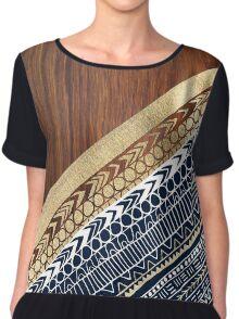 Navy & Gold Tribal on Wood Women's Chiffon Top
