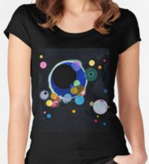 Abstract Kandinsky Painting black and blue Women's Fitted Scoop T-Shirt