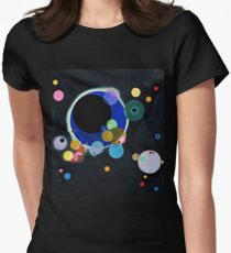 Abstract Kandinsky Painting black and blue Women's Fitted T-Shirt