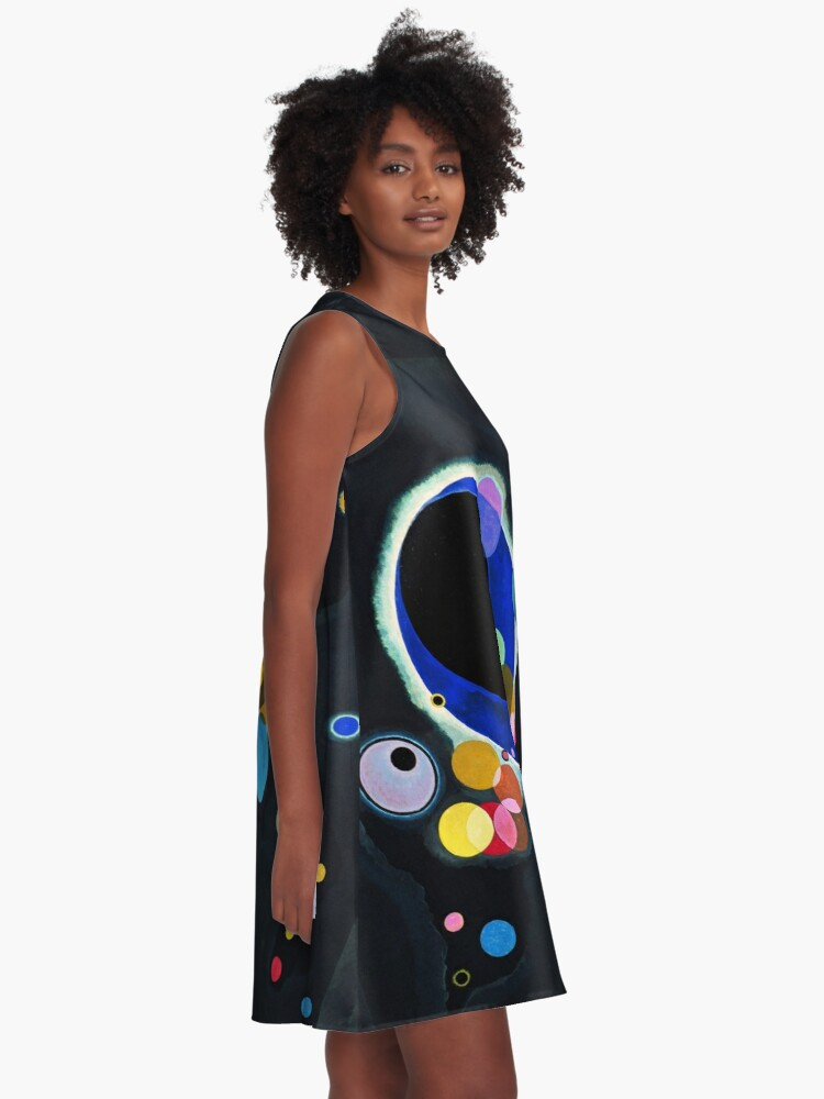 Alternate view of Abstract Kandinsky Painting black and blue A-Line Dress