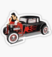 Hot Rod with Pin-Up Girl Sticker