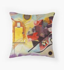 Yellow and Blue Kandinsky painting Throw Pillow