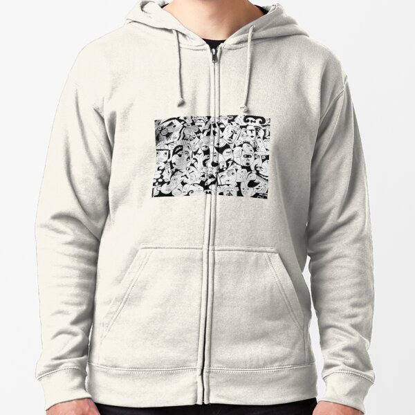 The Sun - Mayan and Aztecz - Black & White Zipped Hoodie