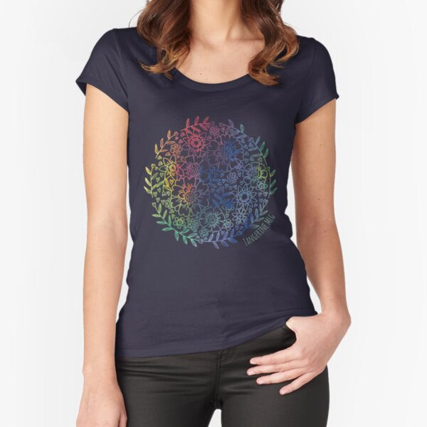 Rainbow Flowers Fitted Scoop T-Shirt