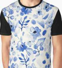 Blue China - Watercolor Floral Graphic T-Shirt