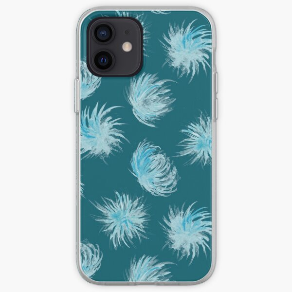 Rain flowers on teal watercolor pattern iPhone Soft Case