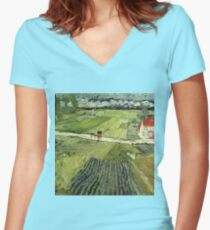 Landscape with Carriages Van Gogh Women's Fitted V-Neck T-Shirt