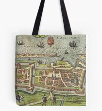 Calais Vintage map.Geography France ,city view,building,political,Lithography,historical fashion,geo design,Cartography,Country,Science,history,urban Tote Bag