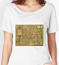 Cambridge Vintage map.Geography Great Britain ,city view,building,political,Lithography,historical fashion,geo design,Cartography,Country,Science,history,urban Women's Relaxed Fit T-Shirt