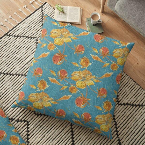 Rusty watercolor flowers pattern Floor Pillow