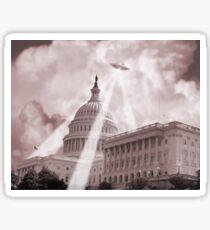 UFO Over Capital 2 (Sepia) Sticker