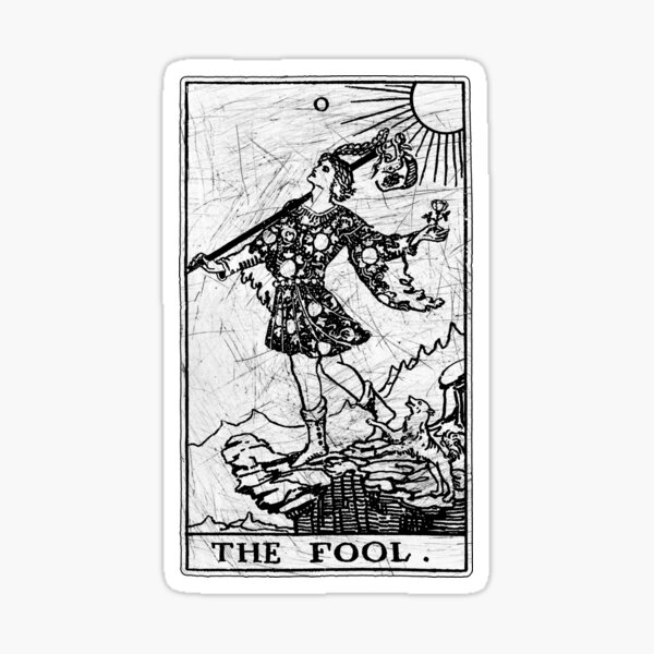 The Fool Tarot Card - Major Arcana - fortune telling - occult Sticker