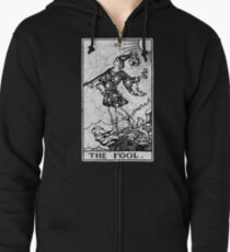 The Fool Tarot Card - Major Arcana - fortune telling - occult Zipped Hoodie