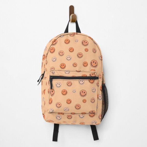 Happy Smiley Emoji Faces Pattern Set Orange Color Backpack