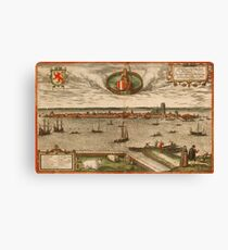 Dordrecht Vintage map.Geography Netherlands ,city view,building,political,Lithography,historical fashion,geo design,Cartography,Country,Science,history,urban Canvas Print