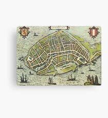 Dordrecht(2) Vintage map.Geography Netherlands ,city view,building,political,Lithography,historical fashion,geo design,Cartography,Country,Science,history,urban Canvas Print