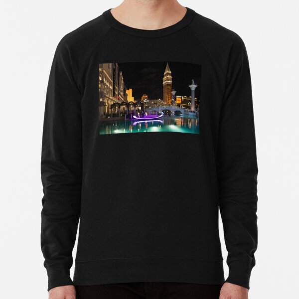 Lighting Up the Night in Neon - Colorful Canals and Gondolas at the Venetian Las Vegas Lightweight Sweatshirt