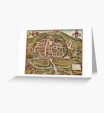 Exeter Vintage map.Geography Great Britain ,city view,building,political,Lithography,historical fashion,geo design,Cartography,Country,Science,history,urban Greeting Card