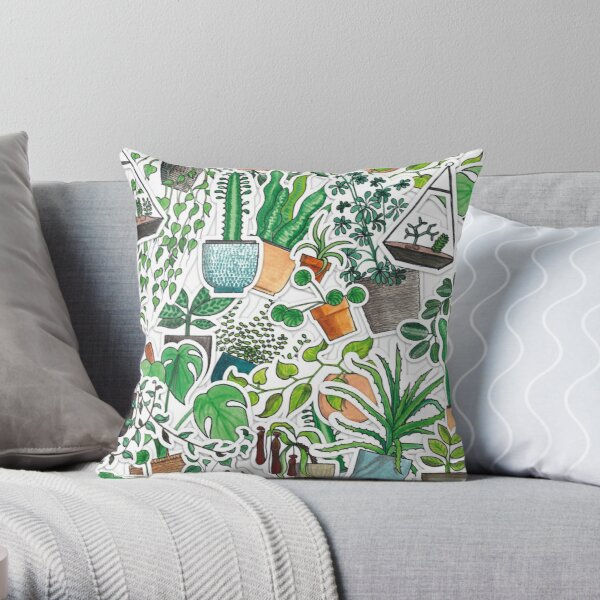 All the House Plants! All at Once! Throw Pillow