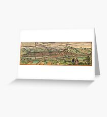 Florence Vintage map.Geography Italy ,city view,building,political,Lithography,historical fashion,geo design,Cartography,Country,Science,history,urban Greeting Card