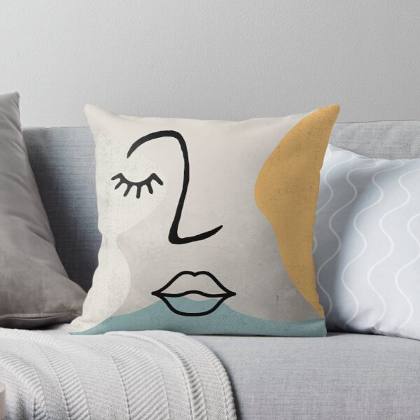 Face Line Drawing Throw Pillow