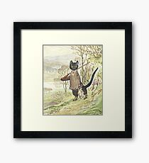 Hunting Black Cat by Beatrix Potter Framed Print