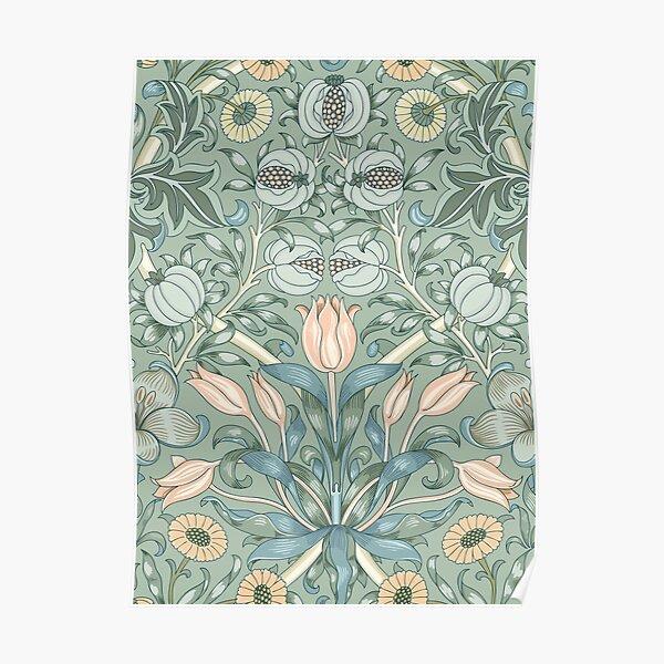 William Morris Vintage Tulip Bleu Poudre & Motif Rose Doux Poster