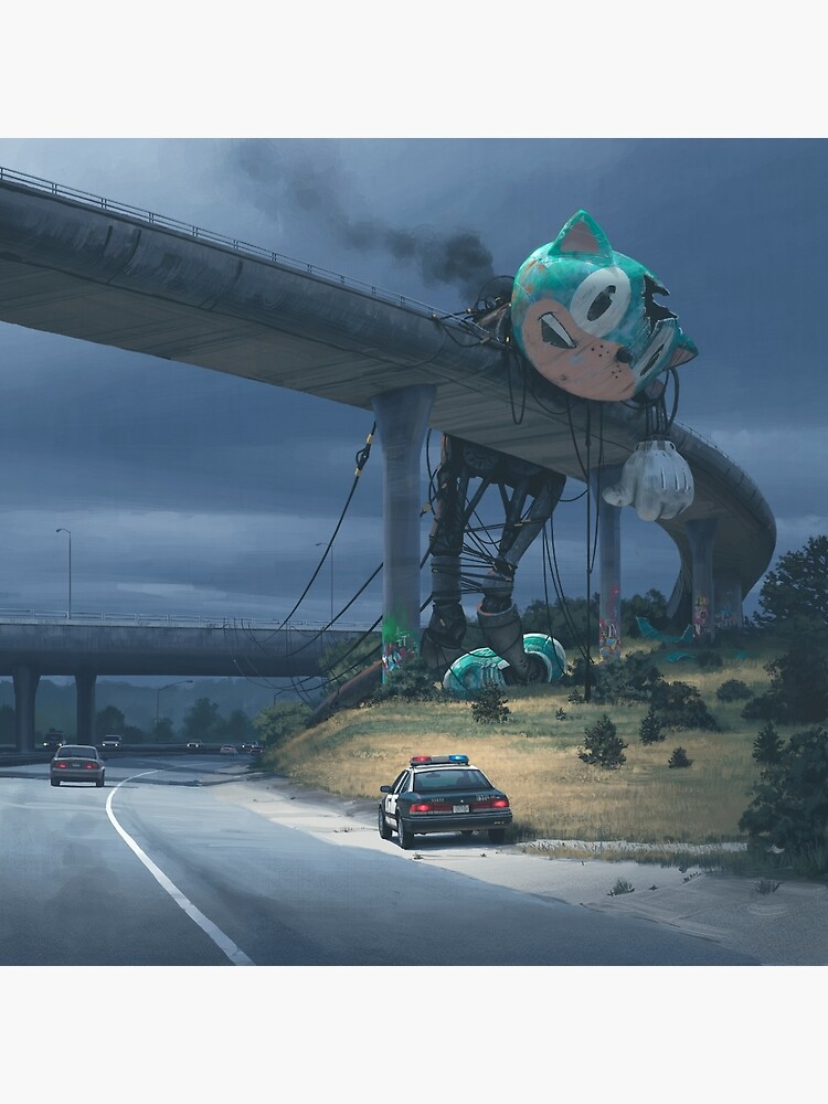 Incident On The Edge Of Town by simonstalenhag