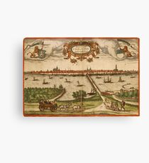 Kampen Vintage map.Geography Netherlands ,city view,building,political,Lithography,historical fashion,geo design,Cartography,Country,Science,history,urban Canvas Print