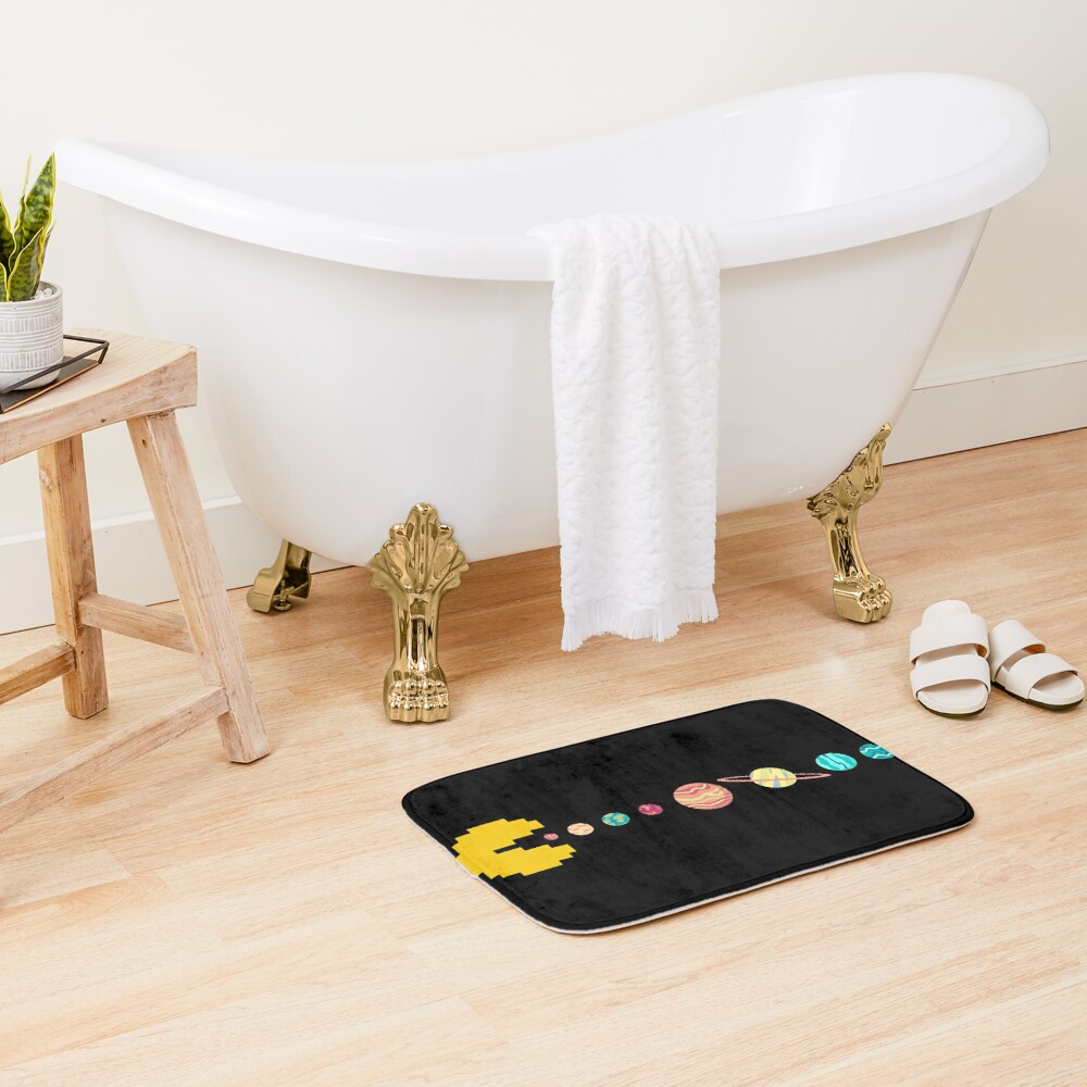 Solar System GAME OVER - Pixel Sun Eating All Planets of our Solar System Bath Mat