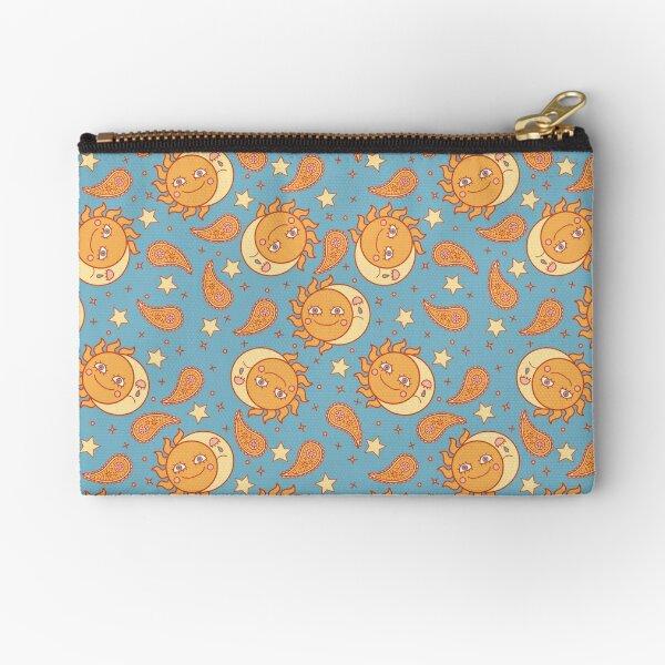 Sun & Moon Paisley Print Zipper Pouch