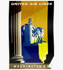UNITED AIR LINES; Fly to Washington D.C. Advertising Print Poster