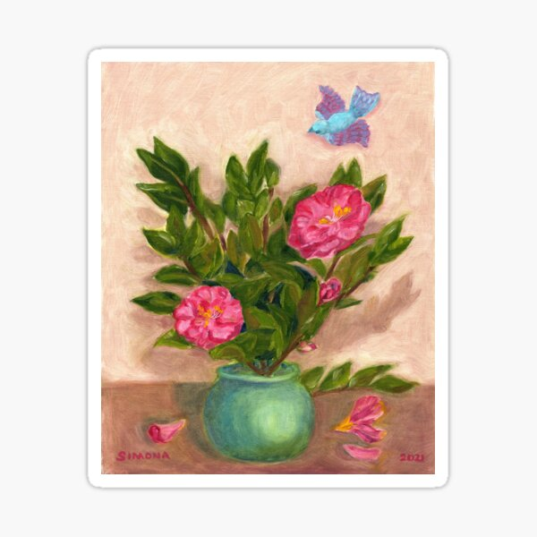 Camellia and Bird Sticker