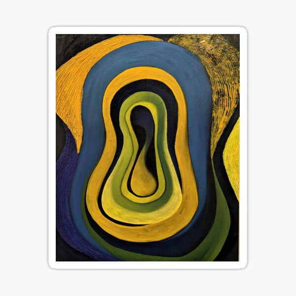 yellow, blue, and black abstract art painting Sticker