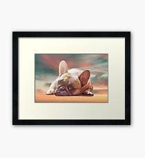 Cute French Bulldog Water Color Art Painting Framed Print