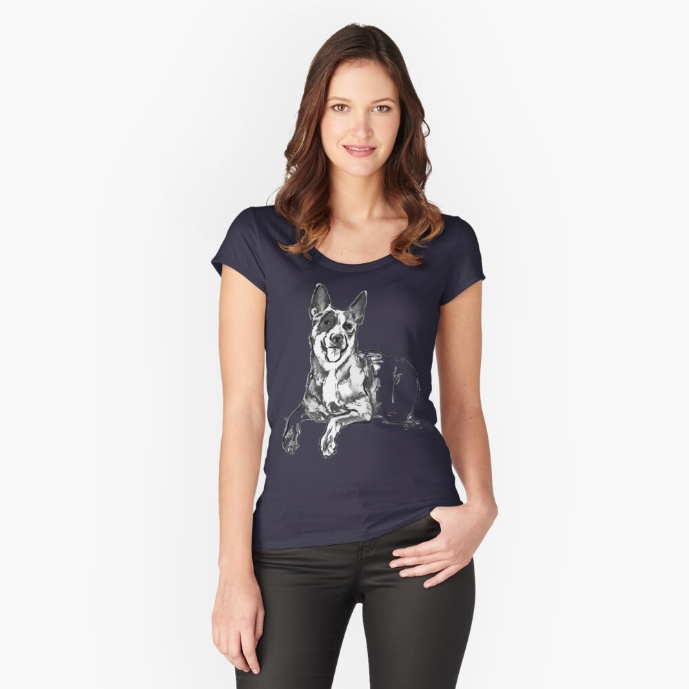 Blue Heeler Drawing Women's Fitted Scoop T-Shirt Front