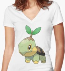 Turtwig Women's Fitted V-Neck T-Shirt