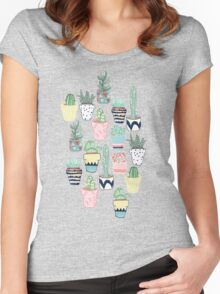 Cute Cacti in Pots Women's Fitted Scoop T-Shirt
