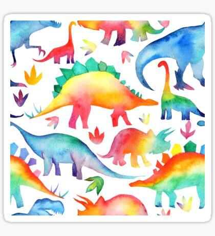 Rainbow Watercolour Dinosaurs Sticker