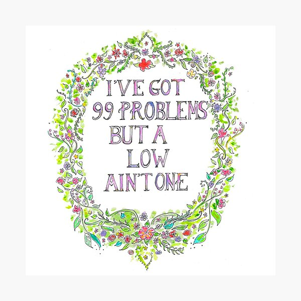 I've got 99 problems but a low ain't one Photographic Print