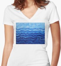 Sea & Sky original painting Women's Fitted V-Neck T-Shirt