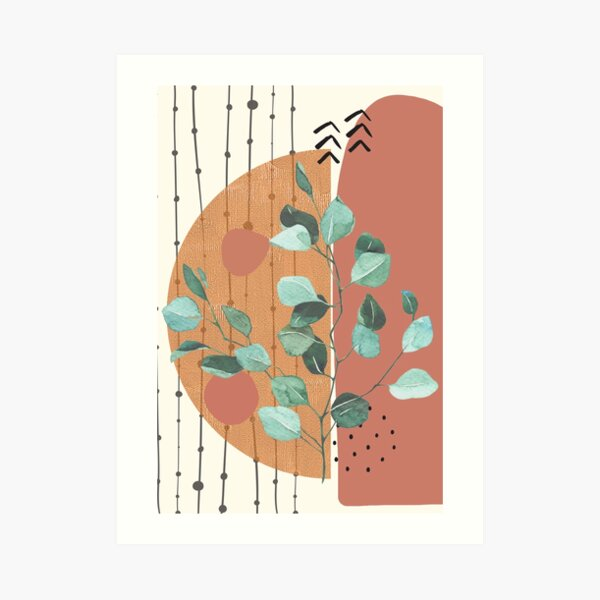 Eucalyptus Branch Abstract geometry Watercolor Tropical Boho Minimalist Art with warm earthy tones and pastel colors with solid and soft gradient shapes XII Art Print