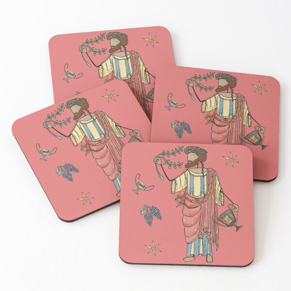 Greek Myth Comix - Dionysus and his grapes and kylix Coasters (Set of 4)