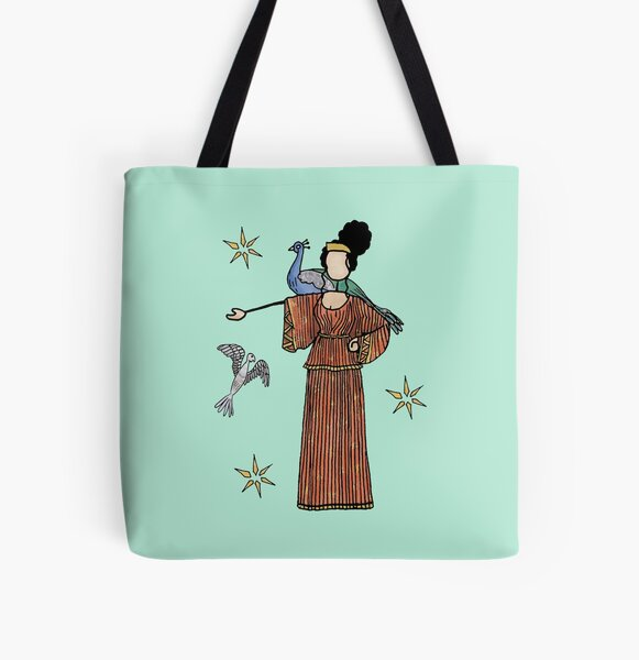 Greek Myth Comix - Hera and her cuckoo and peacock All Over Print Tote Bag